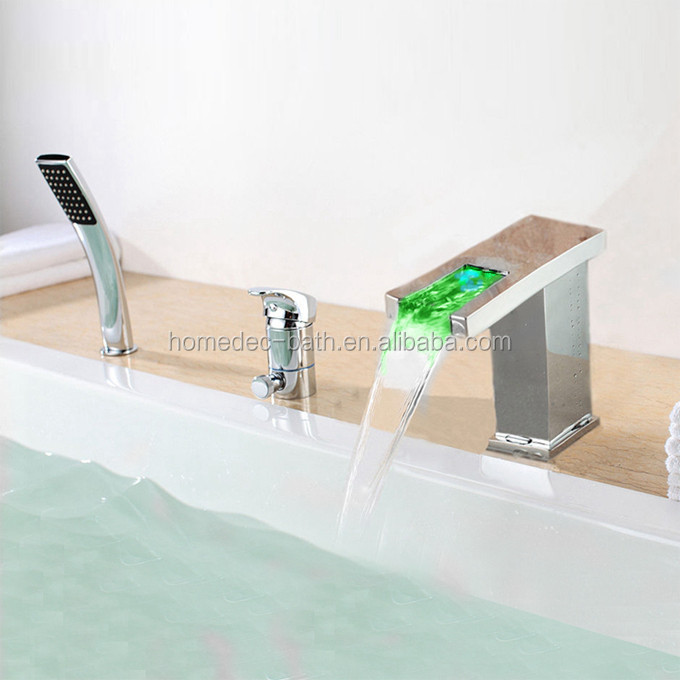 Luxury designs bathroom sanitary fittings 5-holes water fall used bathtub faucets