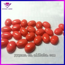 Hot Sale High Quality Synthetic Ruby Red Beads Brilliant Reflective Oval Loose Synthetic China Glass Beads