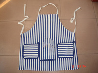 popular kitchen set 100% cotton twill chef apron,oven mitt ,tea towel and oven glove in blue stripe printing-41