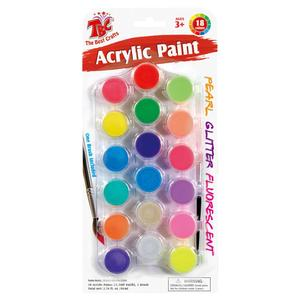 18ct 4.5ml acrylic paint w/brush on blister card (Combo Set)