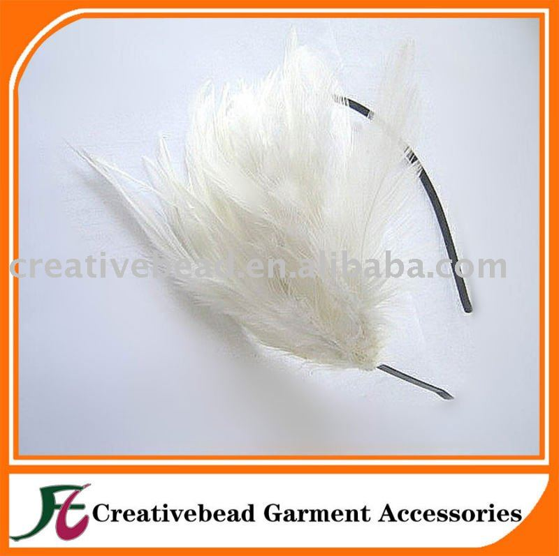 chian wholesale fashion white baby feather headband for kid
