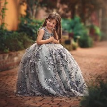 ZH1216Q Beautiful 3D Lace Appliques Toddler Ball Gown Flower <strong>Girl</strong> <strong>Dress</strong> Little Elf <strong>Girls</strong> Pageant <strong>Dresses</strong> Beaded First Communion
