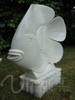 Outdoor decoration stone carvings and sculptures marble fish statues garden art wholesale