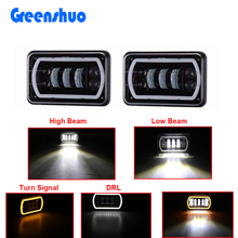 New 4x6 Led Headlight 30W High Low Beam White DRL Yellow Turn Signal for For J-eep Wrangler YJ C-herokee XJ