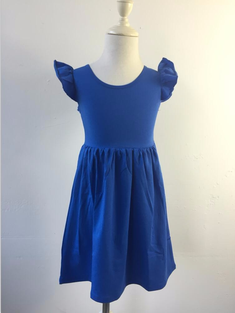 High quality medium dress 0-12 Years Old Children casual Girls Dress Pure Color Kid Cotton Beautiful Girl Dress