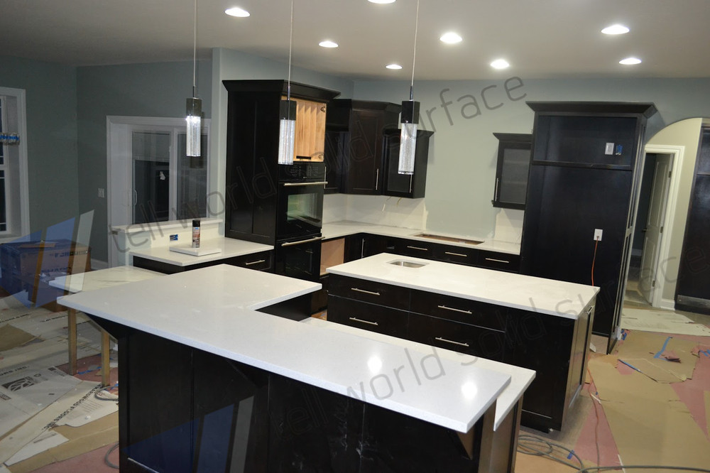 High Gloss Kitchen Countertops Grey Solid Surface