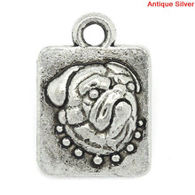 Charm Pendants Rectangle Antique Silver Pug Dog Pattern Carved 15x11mm