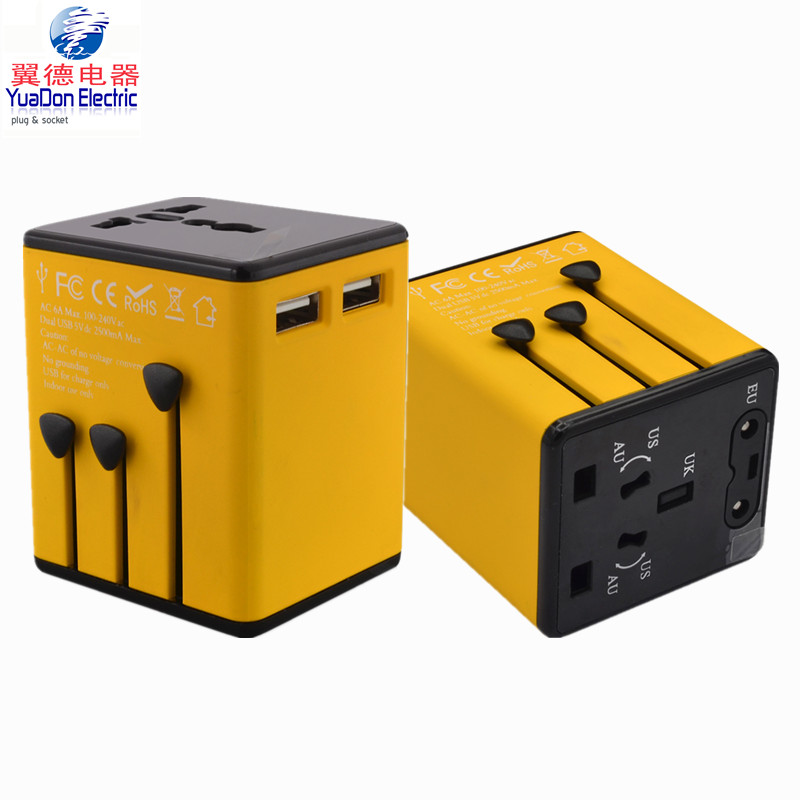 popular mobile phone travel charger travel bulk universal travel adapter with usb port with AU US UK EU Plug