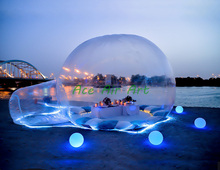 LED lighting large inflatable dome bubble igloo lawn party clear tent inflatable transparent bubble tent for camping