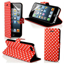 Laudtec Wallet Hot Selling New Products Polka Dots Wallet Leather Flip Case Pouch for Apple iphone 5 5G