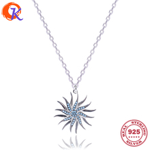 Fashion Necklace 100% 925 Sterling CZ Swirling Sunflower Pendant Necklaces Jewelry For Holiday Gift CDSN-0029