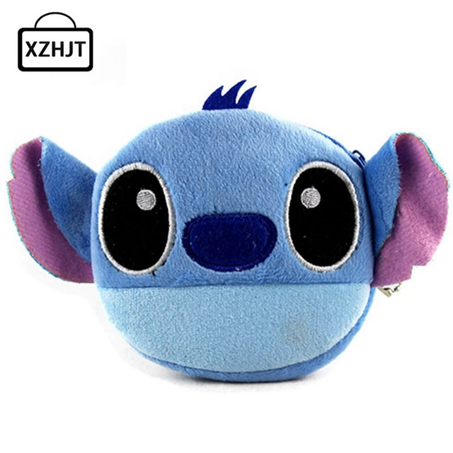 XZHJT New 2016 Cute Cartoon Stitch Children Plush Coin Purse Zipper Change Purse Wallet Money Bag Kids Girl Women For Gift