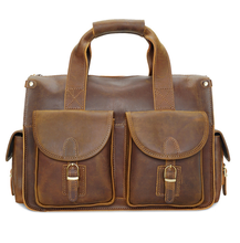 High quality retro style messenger Crazy horse leather men hand bag