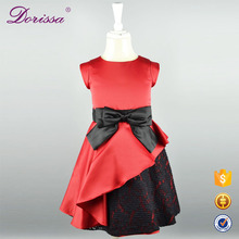 hot sale low price simple dress for kids net and lace fashion decorated red baby girl wedding party dresses for 4-10 years