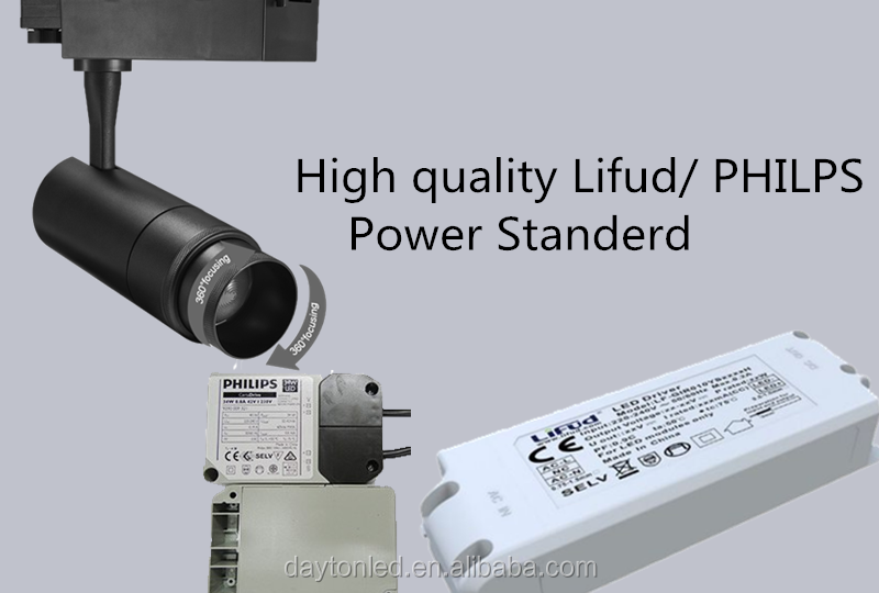 High power high lumen 100LM/W Black & White Cylinder Track Fixture led 20W 30W