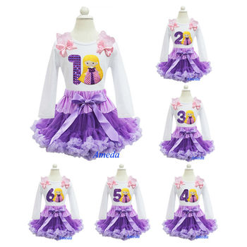 Purple Lavender Pettiskirt Embroidered Number 1 2 3 4 5 6 Rapunzel Tangled Princess Long Sleeves Tee Birthday Party Dress