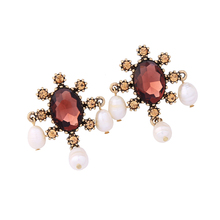 Fashion Single Big Stone Coffee Crystals Pearl Earring Designs for Women