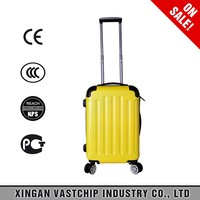 New design high quality eminent yellow ABS trolley luggage suitcase