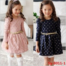 Hot sale autumn long sleeve kids girls casual dress baby cotton frocks designs