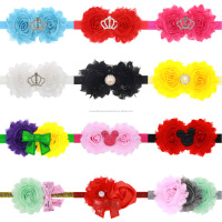Newborn Baby Girl Precious Rhinestone Tiara Shabby Flowers Headbands With Mixed Design Hair Accessories Set