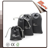 Excellent quality black leather jewelry drawstring pouch