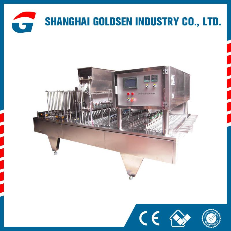 GMP Standard honey/pudding/milk cup filling and sealing machine,cup water packing machine.cheap plastic cup sealing machine