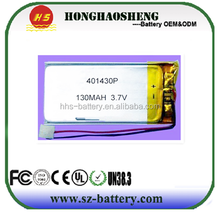 Hot selling 3.7V 130mah lithium polymer battery 401430 for GPS and smart device