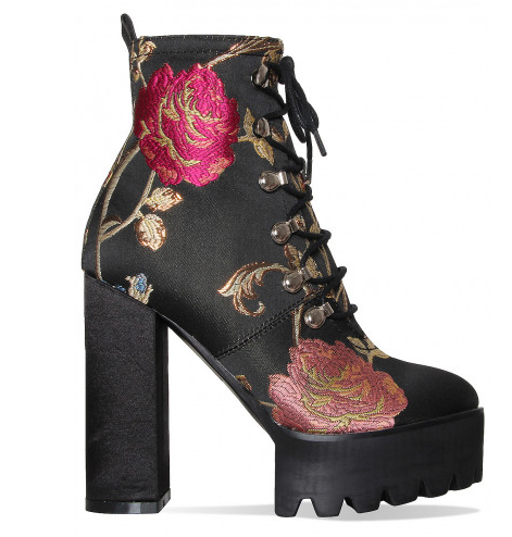 Black Floral Cleated Platform Block Heel Shoes Women High Heels Boots