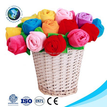Low MOQ Factory valentine gift soft toy flower colorful stuffed soft plush rose