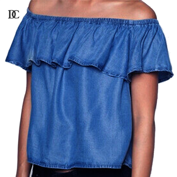 Ruffle Denim Shirt Cropped Crop Tops Blue Casual Off The Shoulder Ladies Jeans Tops