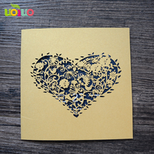new arrival free logo royal sweet heart laser wedding invitation card lace paper-cut personalized ribbon and rhinestone buckle