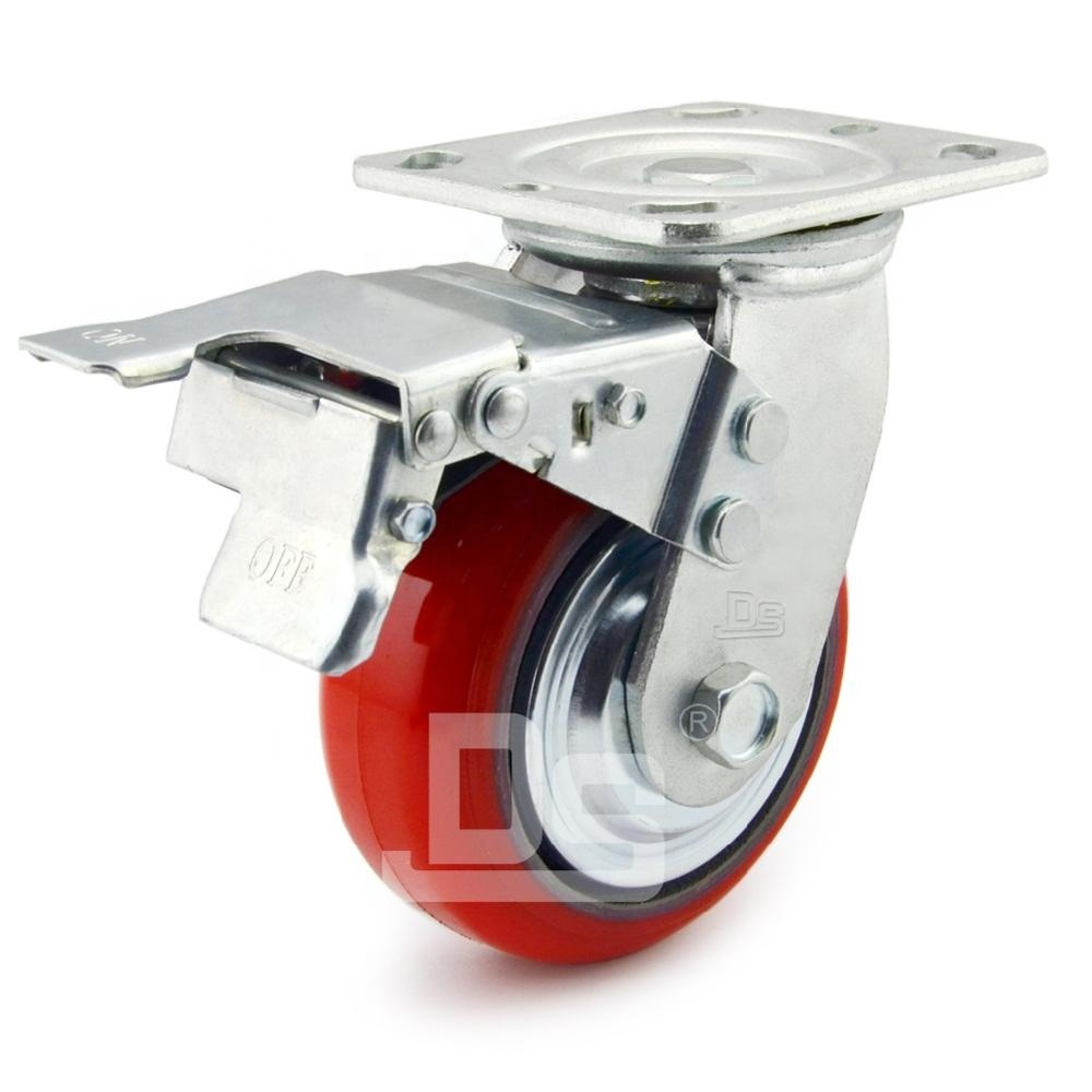 DS40 Industrial Supplier Heavy Duty Trolley PU Polyurethane Swivel Caster <strong>Wheel</strong> and Castor