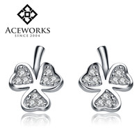 2016 sterling silver earrings cheap crystal leaf earrings sterling silver 925 wholesale