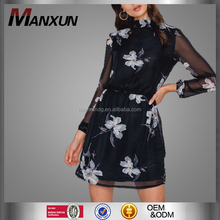 2017 Summer Fashion Women Floral Printed Chiffon Dress Ladies Midi Model Sexy Dress Long Sleeve Clothing