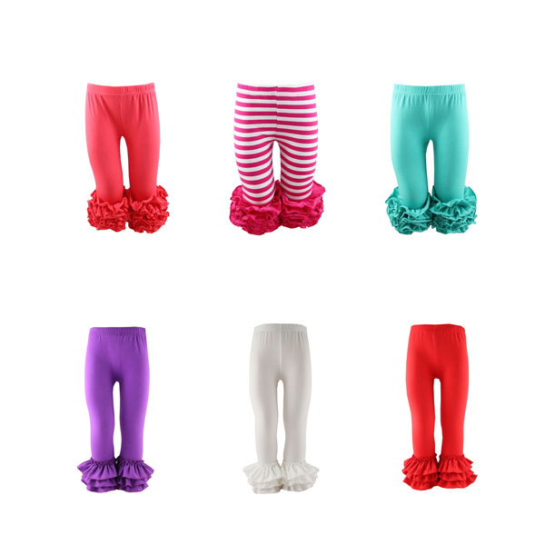 2017 New design solid& strip icing baby leggings triple ruffle pants bell bottom trousers cutting ruffle girl leggings