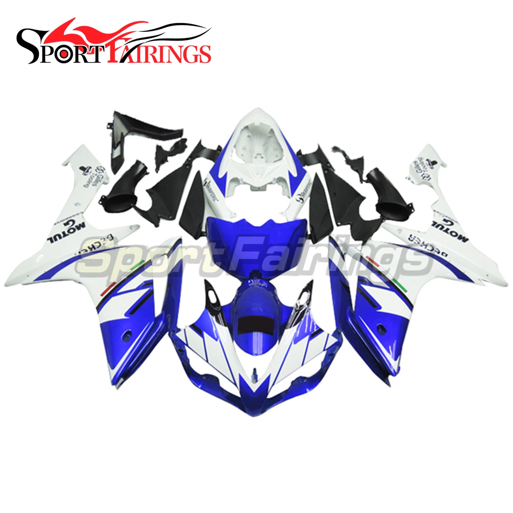 Full Injection <strong>Fairings</strong> For Yamaha YZF <strong>R1</strong> <strong>07</strong> <strong>08</strong> ABS Plastic Injection FIAT White Blue Black Motorcycle Kit Body