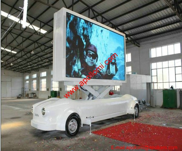 large big automatic mobile led display advertising car rental company P10mm