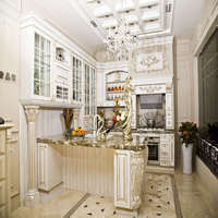 Modern Design Natural Marble Wood Carving White Kitchen Cabinet