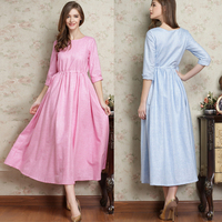 2015 New Arrival belted 3/4 sleeve long women dress fashion O neck ladies autumn dress for wholesale
