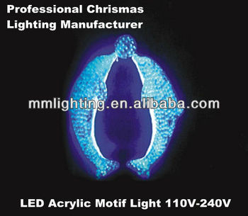 1.5 Tall Double Acrylic Dolphin Blue Acrylic Image Light || Festival Light Up Night Lights