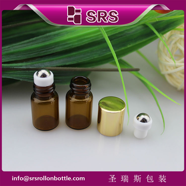 1ml 2ml cute glass roll on bottle,100% no leakage mini essential oil roller bottles