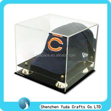 Nonskid Durable Acrylic baseball cap display box with golden riser, High elegant acrylic hat box