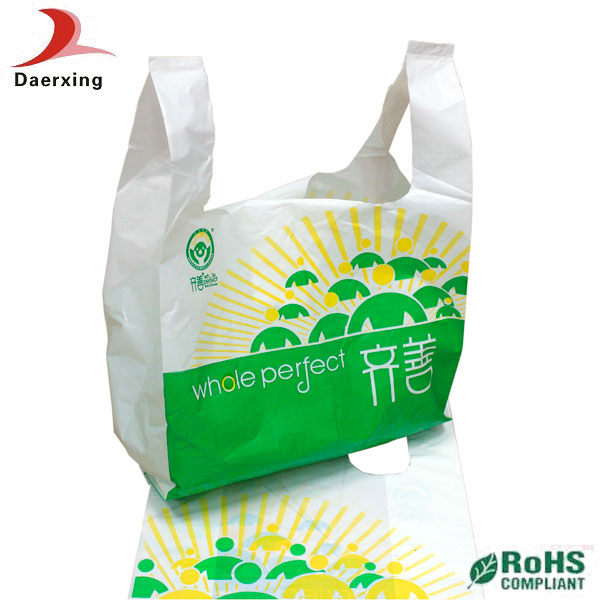 Shenzhen bio low price new design t-shirt plastic bag for vegetables