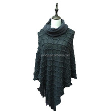 Machine woven poncho 100% acrylic knitting pullover capes cashmere shawl