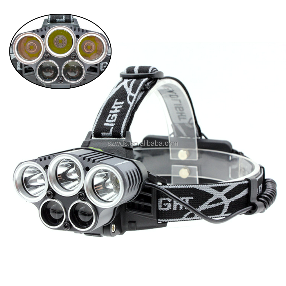 2 in 1 High Power 5 LED Headlamp USB Rechargeable White Blue led Hunting Headlight