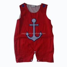 Best sell baby clothes applique tee children infant romper summer toddler boy anchor nautical clothing for Bulk wholesale