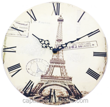 fashion round wood wall clock sweep movement second hand
