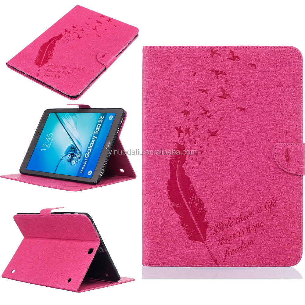 Flower Pattern Leather Stand Flip Case for Samsung Tab S2 9.7 Inch T815, Ultra-thin PU Leather Tablet Case for Samsung S2