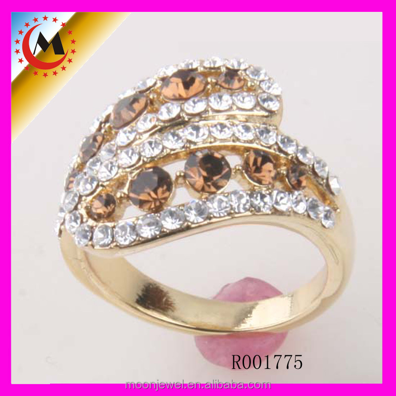 2014 ALIBABA COPPER ALLOY CHINA GOLD PLATED CRYSTAL DIAMOND RING