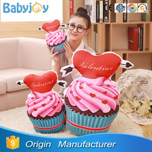 Emulational food cushion cup cake pillow with heart for lovers